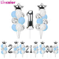 Globos de cumpleaños plateados de 1, 2, 3, 4, 5 y 6 años, decoraciones para fiesta de cumpleaños, para niños y adultos, suministros de cumpleaños