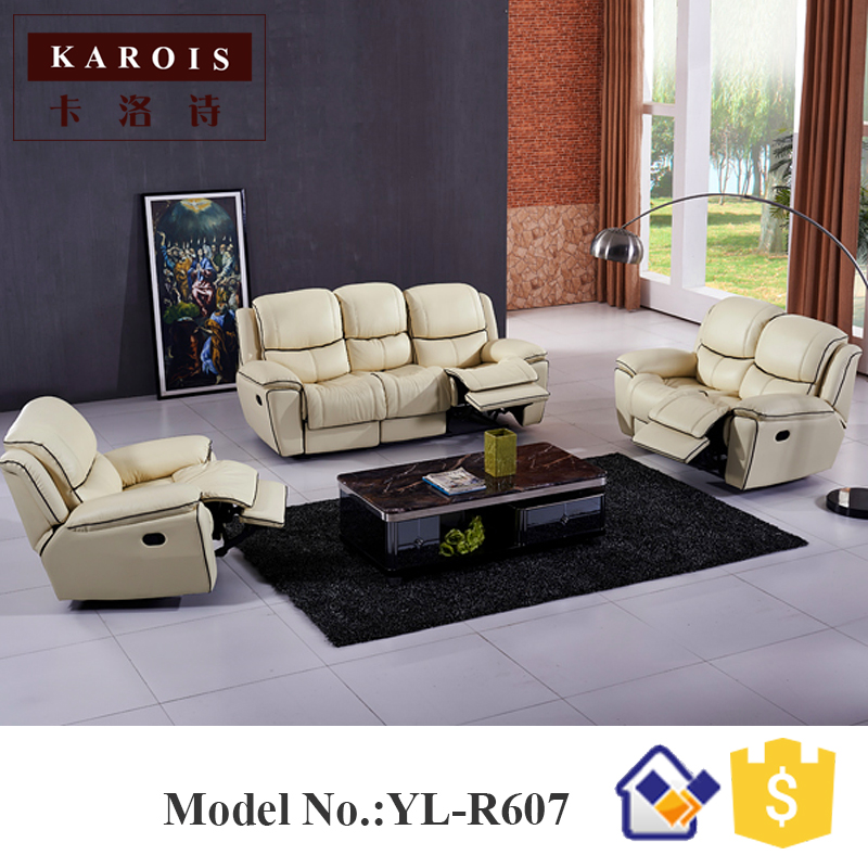 Leather Sectional Couches Automatic Recliner Sofa Set,Manual Recliner White  Color