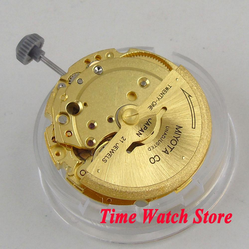 цена 21 Jewels date dispaly Golden MIYOTA 8200 automatic movement fit for automatic watch m20 онлайн в 2017 году