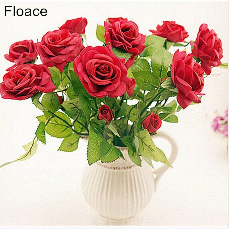 11ks Čerstvé růže Umělé květiny Real Touch růže Květiny Domácí dekorace pro svatební party nebo narozeniny Valentýna dárek