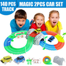 Magical Track Miraculous Glowing Race DIY Universal Accessories Ramp Turn Road Bridge Crossroads Toys For Children