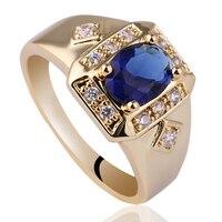 Mens Wide Cross Shape White Topaz Black Onyx Blue Sapphire 18K Gold GF Real Sterling 925