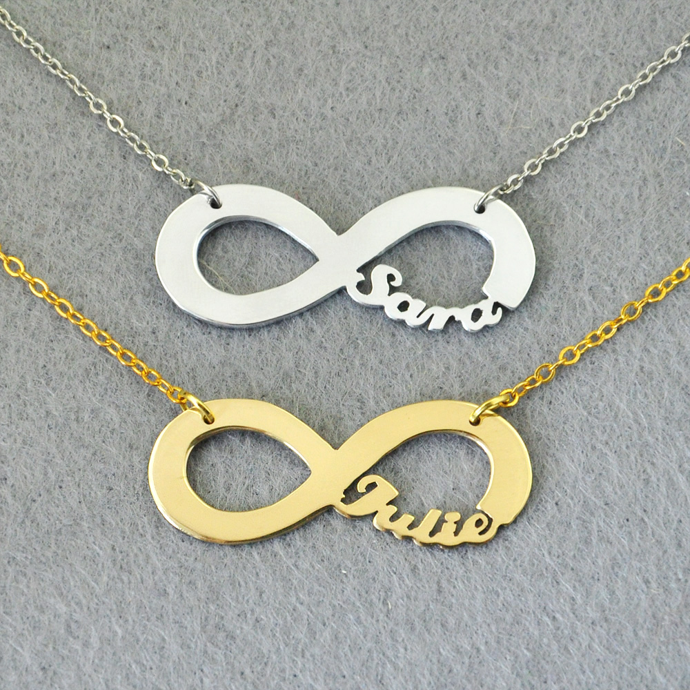 Free shipping Personalized Infinity Necklace Infinity Symbol Nameplate Pendant Custom Your Name Valentine s Day Gift