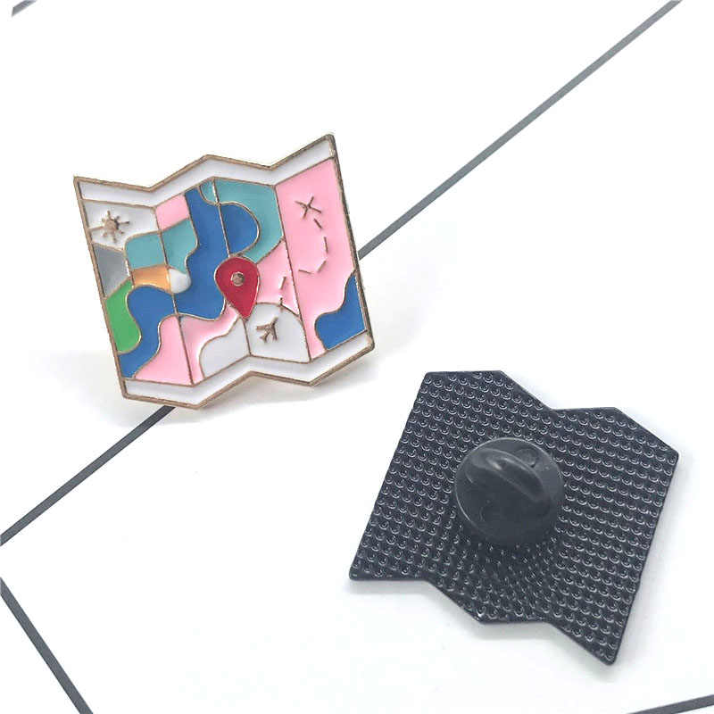 map fold brooch delicate airplane sun destination pink blue green white pins small cartoon gift for girls students