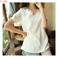 Simples pastorable bordado v - pescoço t - Camisa escola de manga curta branco meninas verão tops Bohemio Camisa