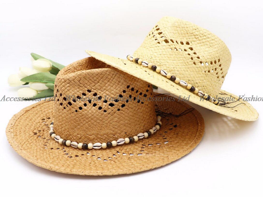 3d89b87fb1974 6pcs Brown Straw Panama Hats with Sea Shell Men Straw Fedora Hat Paper  Beach Cap Women Straw Fedoras Summer Sun Caps Wholesale