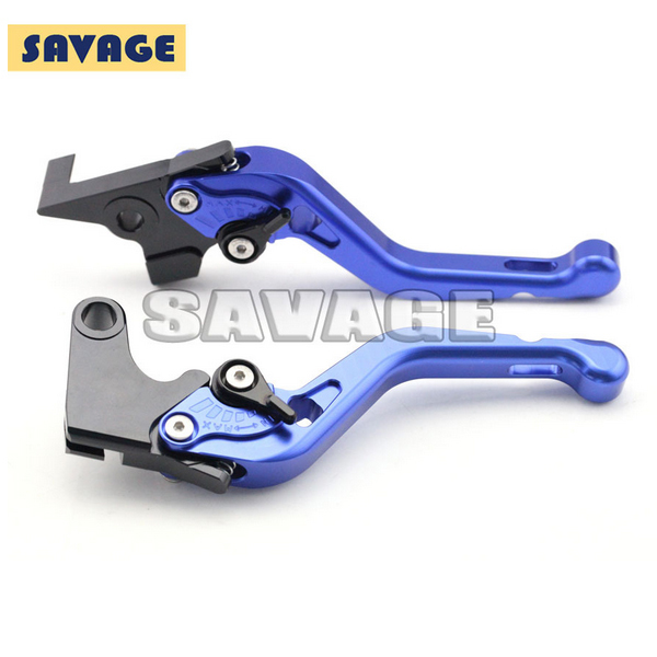 ФОТО Motorcycle Accessories CNC Aluminum Short Brake Clutch Levers For YAMAHA FZ6N/S 2004-2009, FZ-6R 2009-2015 Blue