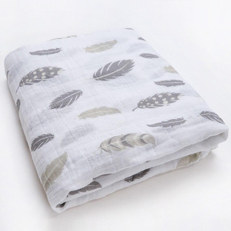 Новинка; хлопковые Супермягкие подгузники из муслина; детское одеяло; Банное полотенце; пеленка; аксессуары для детской кровати; детское одеяло для новорожденных - Цвет: Feathers