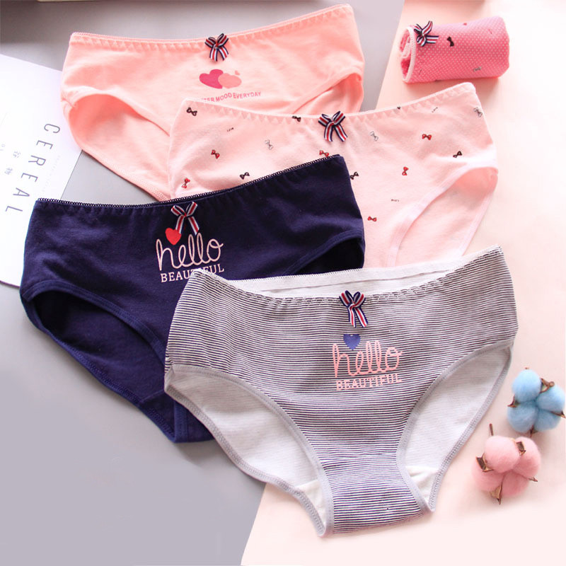 2019New Fashion 4Pcs/Lot Girl Panties Sweet Underwear Cotton Briefs Lovely Lingerie Soft Comfortable Striped Panty 863