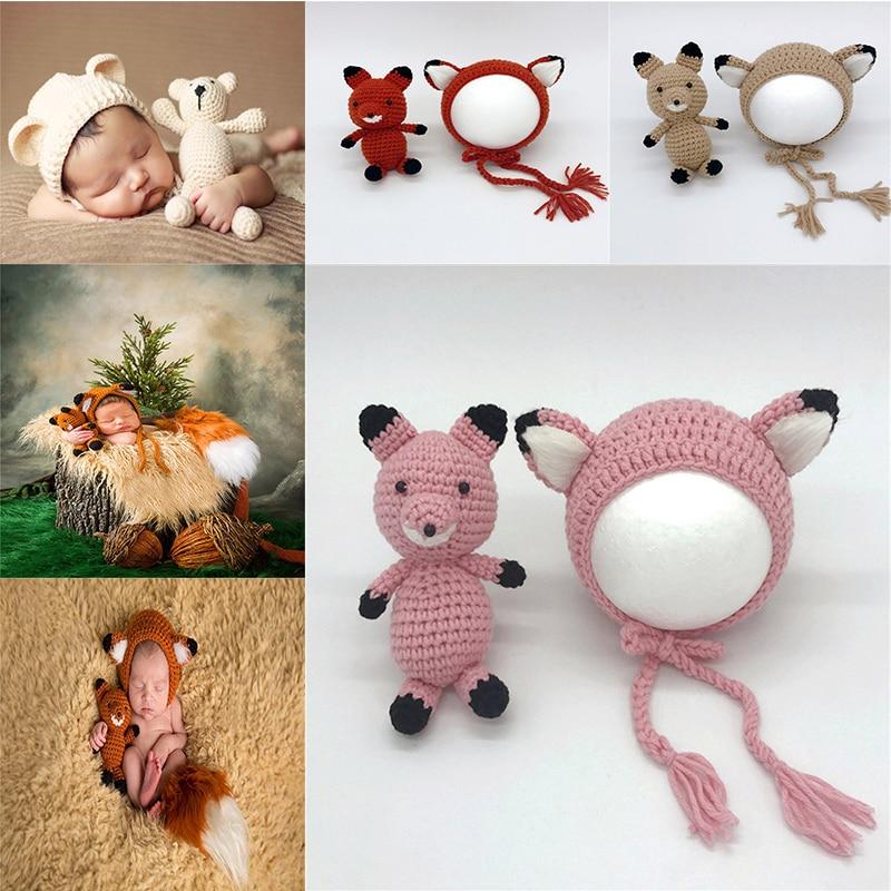Новорожденных для маленьких девочек мальчиков Опора фото крючком вязать костюм кролик шляпа с куклы набор ручной работы новорожденных Hat и...
