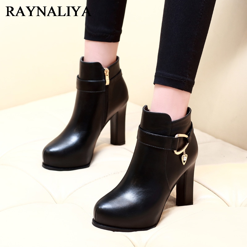 High Quality Brand Women Thick High Heeled Motorcycle Boots Genuine Leather Shoes Woman Autumn Winter Snow Boots CH-A0042 plus size 34 43 autumn and winter ankle boots flock women motorcycle brand quality square high heeled woman chelsea boots shoes