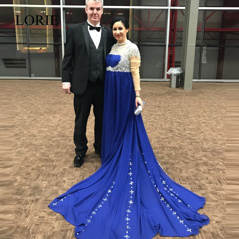 Вечерние платья для беременных 2018 г. Abendkleider Кристаллы бисером элегантные женские Длинные Выпускные платья для свадебной вечеринки