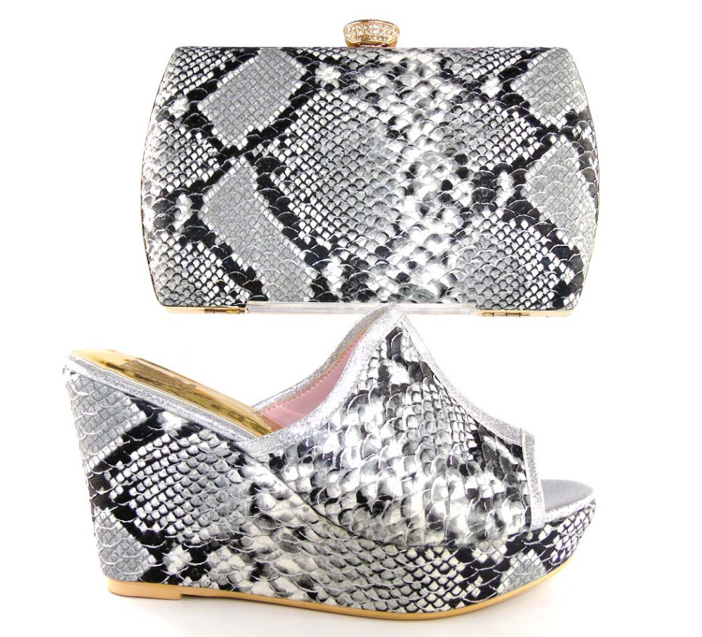 ФОТО African style Italian Shoes and Bags To Match Shoes with Bag Set Italian Matching Shoes and Bags Sets With HS16019 Grey Color.