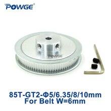 POWGE 1 шт. 85 зубьев 2 м 2GT синхронный шкив диаметр 5 мм 6,35 мм 8 мм 10 мм для ширины 6 мм 2MGT GT2 зубчатый шкив 85 зубьев 85 т