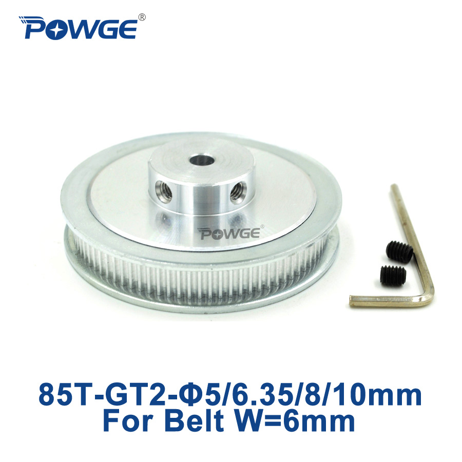 POWGE 1pcs 85 Teeth GT2 Timing Pulley Bore 5mm 6.35mm 8mm 10mm for width 6mm GT2 Timing Belt 85Tooth 2GT Belt pulley 85Teeth 85T powge 8pcs 20 teeth gt2 timing pulley bore 5mm 6mm 6 35mm 8mm 5meters width 6mm gt2 synchronous 2gt belt 2gt 20teeth 20t