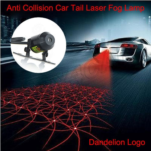 Car Laser Fog Light Rear Anti-Collision Driving Safety Signal Warning Projector Lamp Logo Dandelion #5230 for chevy chevrolet lacetti matiz automotive anti rear fog light vehicle collision warning safety laser fog lights