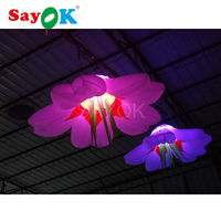 2017 Hot sale attractive colorful GBR led lighting hanging inflatable flower for wedding stage decorate free shipping