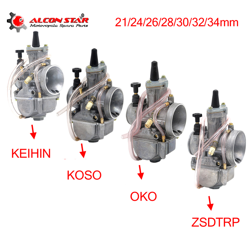 Alconstar  21 24 26 28 30 32 34mm Motorcycle Carburetor with Power Jet for Keihin PWK KOSO OKO 75CC 250CC 2T/4T Engine for KTM-in Carburetor from Automobiles & Motorcycles