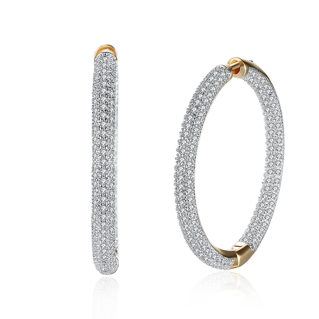 Champagne Gold-color Big Circle Cubic Zirconia Hoop Earrings For Women Statement Crystal Earings Fashion Ear Jewelry 2017 New