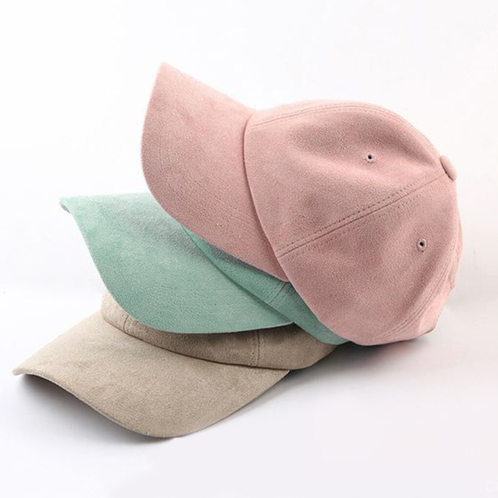 Women Men Artificial Suede Adjustable Unisex Baseball Cap Hat Curved Brim Hat Solid Color