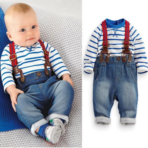 New Baby Boy Long Sleeve T-shirt +Jeans Bib Pants Overall Outfits Clothes Set 2 Pcs