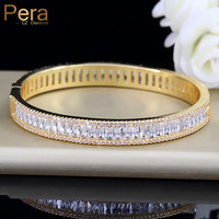 Pera Luxury Indian Dubai Bridal Wedding Gift Big Cubic Zircon Vintage Baguette Bracelet Bangle Gold Color