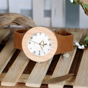 Image 4 - BOBO kuş WC06 Vintage yuvarlak çam ahşap saatler bayanlar lüks marka tasarım kuvars saatler takvim ile hediye kutuları OEM
