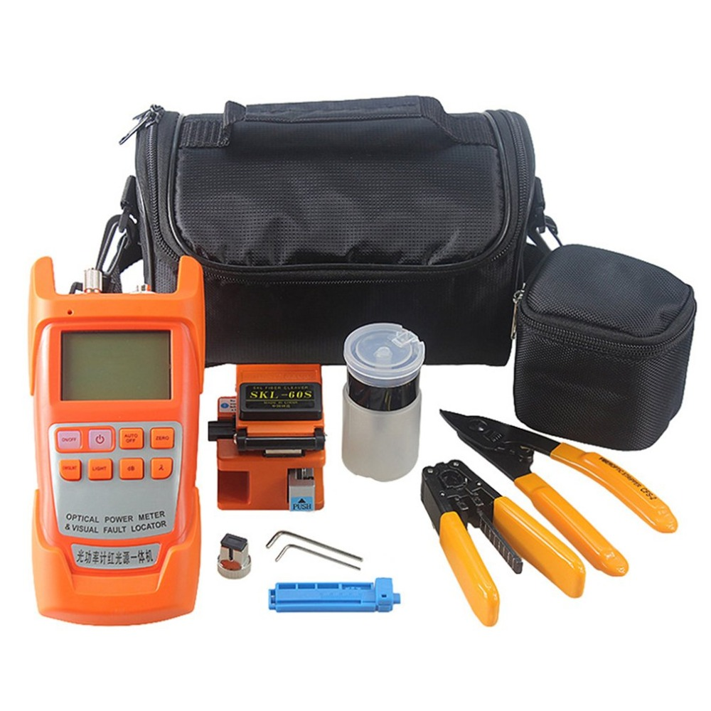 20pcs/set Fiber Optic FTTH Tool Kit SKL-60S Fiber Cleaver Optical Power Meter Tester 1MW Visual Fault Locator Fiber Stripper mt 7601 fiber optic power meter laser fiber optic tester optical fiber power meter automatic identification frequency