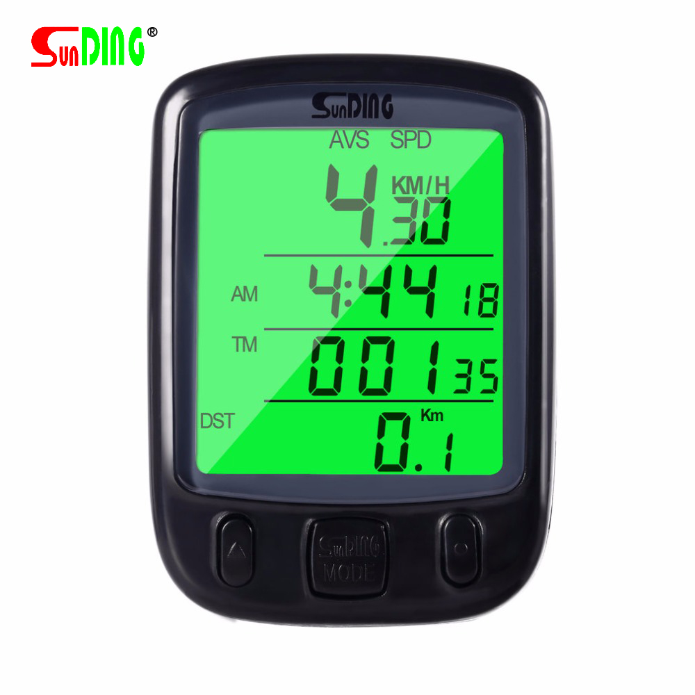 SUNDING Speedometer for Bicycle Waterproof LCD Display Cycling Bike Bicycle Computer Odometer Speedometer with Green Backlight 1 lcd water resistant bike computer odometer speedometer black red 1 x cr2032