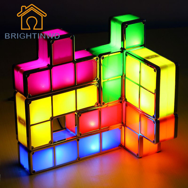 DIY Tetris Puzzle Light Stackable LED Desk Lamp Constructible Block LED  Light Toy Retro Game Tower - DIY Tetris Puzzle Light Stackable LED Desk Lamp Constructible