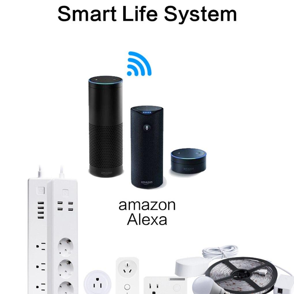 все цены на Hot Wifi Wireless Remote Control Power Socket Smart Home Strip Plug EU 3 AC Socket 4 USB Charging Ports Working For Alexa онлайн
