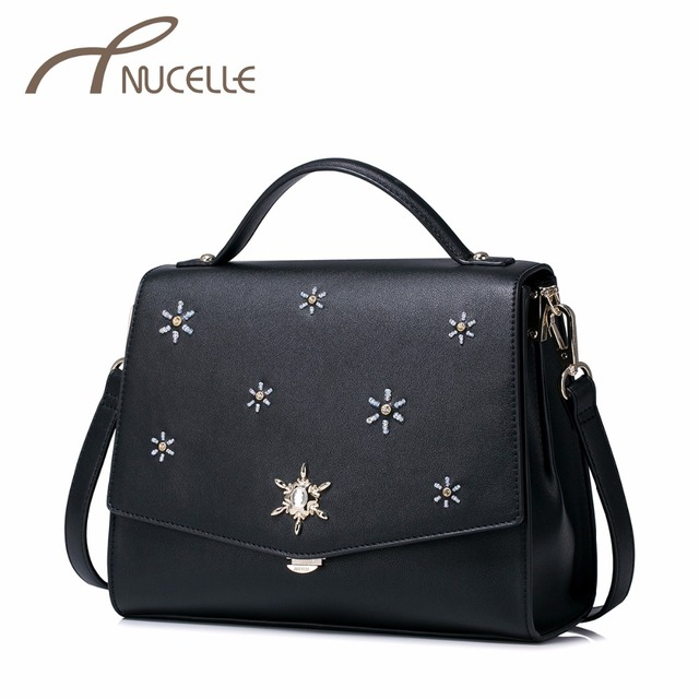 NUCELLE Women PU Leather Handbags Ladies Fashion All-match Beading Messenger Tote Bags Female Leisure Crossbody Bags NZ5972
