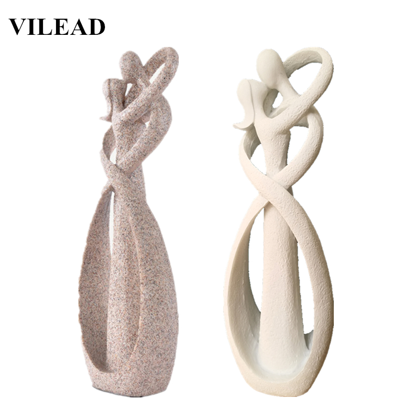VILEAD 23cm Sandstone Kissing Lovers Statue Loving Figurines Sculpture Vintage Home Wedding Decoration Anniversary Gifts Crafts