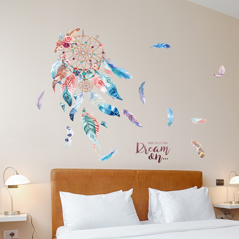 Dreamcatcher Feathers Wall Stickers PVC Material DIY Cartoon Mural Decals for Kids Rooms Baby Bedroom Dormitory Decoration