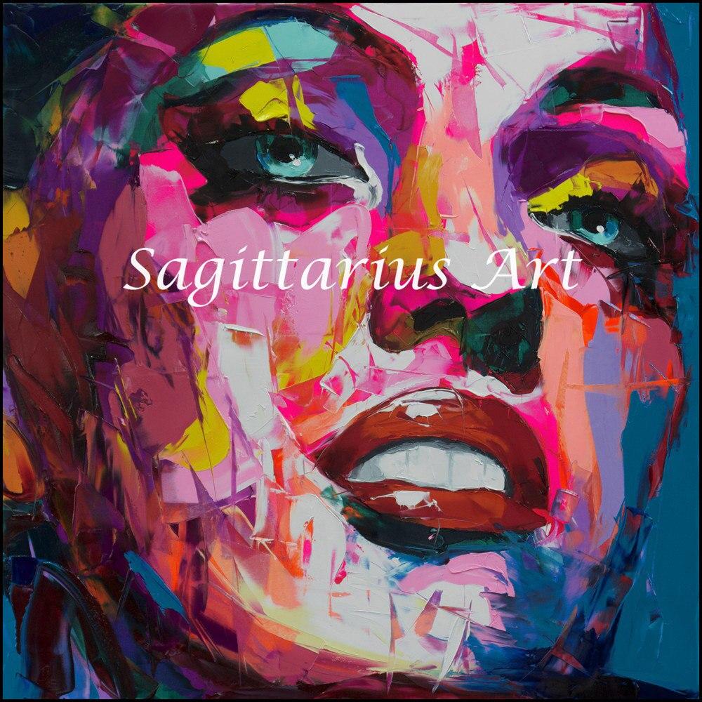 ツ)_/¯Hand Painted abstract Francoise Nielly designer Cool face Art ...