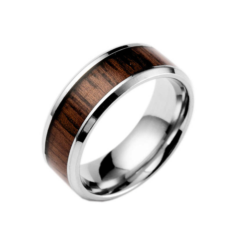 fashion stainless steel ring with wood inlay unique engagement wedding jewelry gifts for men cx17