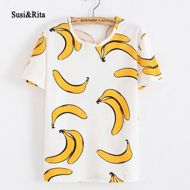 Susi   Rita Stile Coreano Estate T-Shirt Banana Stampa Manica Corta 2017  Harajuku O 7cc1527c2842