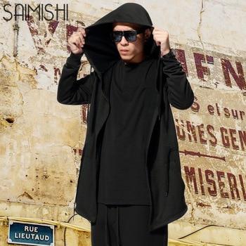 03f8eaaba Hombres con capucha con vestido negro moda Hip Hop Mantle sudaderas  sombrero manga larga diseño capa invierno abrigos sueltos >> saimishi  Official ...