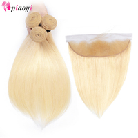 Piaoyi 613 Blonde Straight Brazilian Hair Weave Remy Human Hair Bundles With Closure 3Pc Hair And 1Pc Lace Frontal Closure
