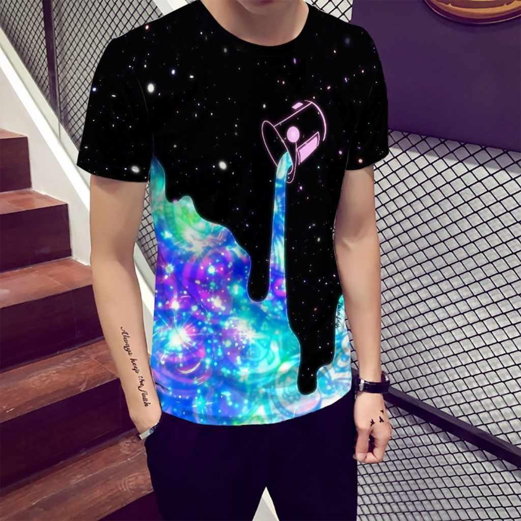 新おかしいメンズ tシャツ夏 3D プリントラウンドネック快適ストリート半袖ファッションカジュアル Tシャツティー服 camiseta