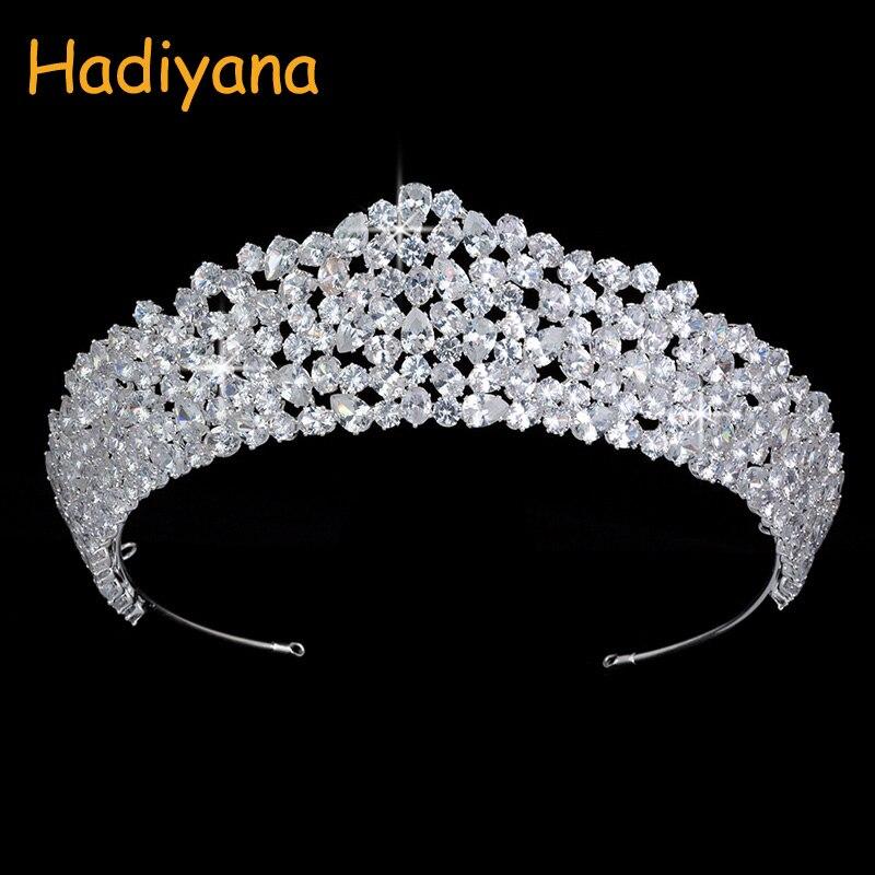Hadiyana New Nuptiale De Mariage Diadèmes Couronnes Mode De Luxe CZ Femmes Partie Ovale Zircon Haute Qualité Bijoux Couronne Vente Prix BC4509