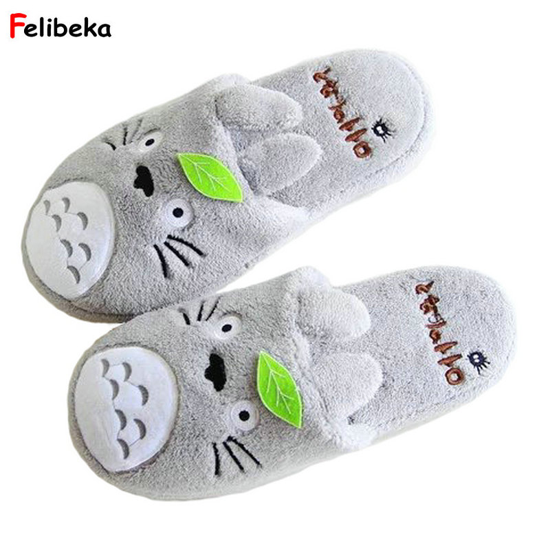 Totoro Cute Cat Cartoon Women Non-slip Animal Female Couple Home Slippers Indoor House Bedroom Male Shoes 2018 New women floral home slippers cartoon flower home shoes non slip soft hemp slippers indoor bedroom loves couple floor shoes