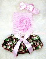 Camouflage Patterns Layer Panties Bloomer With Light Pink Peony Crochet Tube Top And Bow Headband 3PC