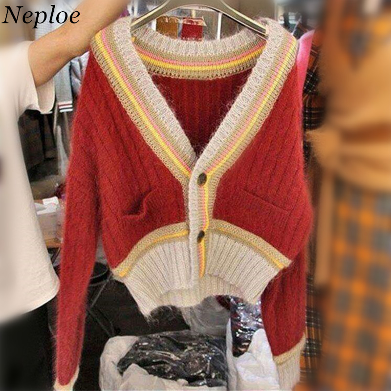 Sweaters Practical Neploe Color Patchwork V-neck Women Cardigan Knitted Stripped Pockets Female Open Stich 2019 Autumn Winter Vintage Sweater 68809 Professional Design