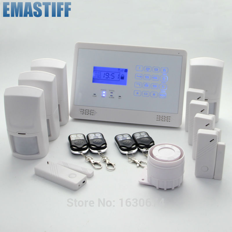 Hot Sale Wireless Touch Home security GSM alarm system+4 motion PIRS wireless smoke fire detector for wireless for touch keypad panel wifi gsm home security burglar voice alarm system