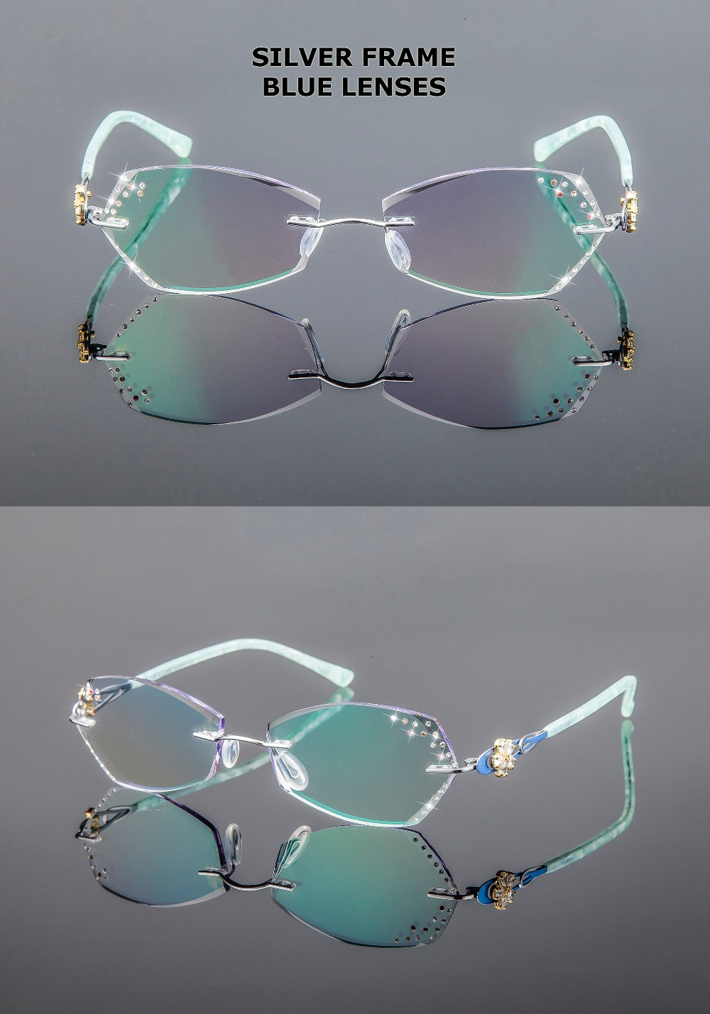 d4ad6d791e90 Yi Jiang Nan Brand Diamond Glasses Pure Titanium Women Eyeglasses Tint  Lenses Blue Lenses Flower Rimless Eyeglasses