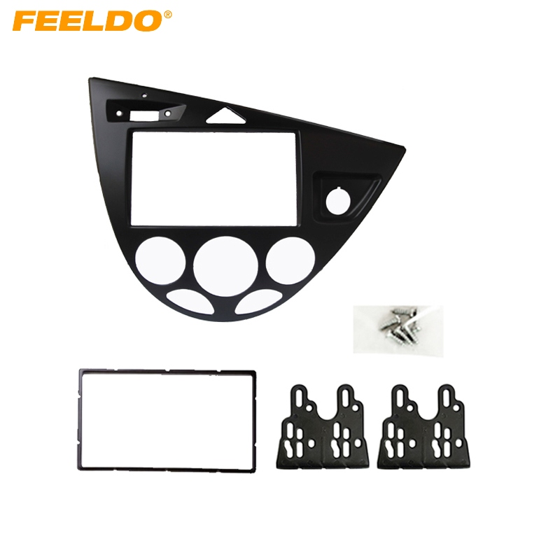 FEELDO Black Car 2DIN Stereo Panel Fascia Radio Refitting Dash Trim Kit For Ford Focus 98~04(RHD)/Fiesta 95~01(RHD) #FD2219 silver car 2din stereo panel fascia radio refitting dash trim kit for ford focus 98 04 rhd fiesta 95 01 rhd ca5038