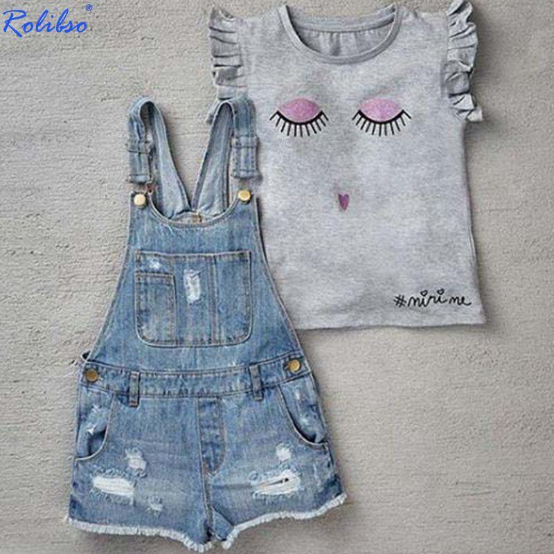New Arrive Girls Summer Cute Eyes Sleeveless T Shirt+Denim Overalls  Clothing Sets Girls Cotton Clothing Suit Kids Clothing Sets