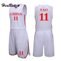 Hearui Custom Retro China Team Blank Basketball Jersey Men High Quality Basketball Sports Clothes Professional Training