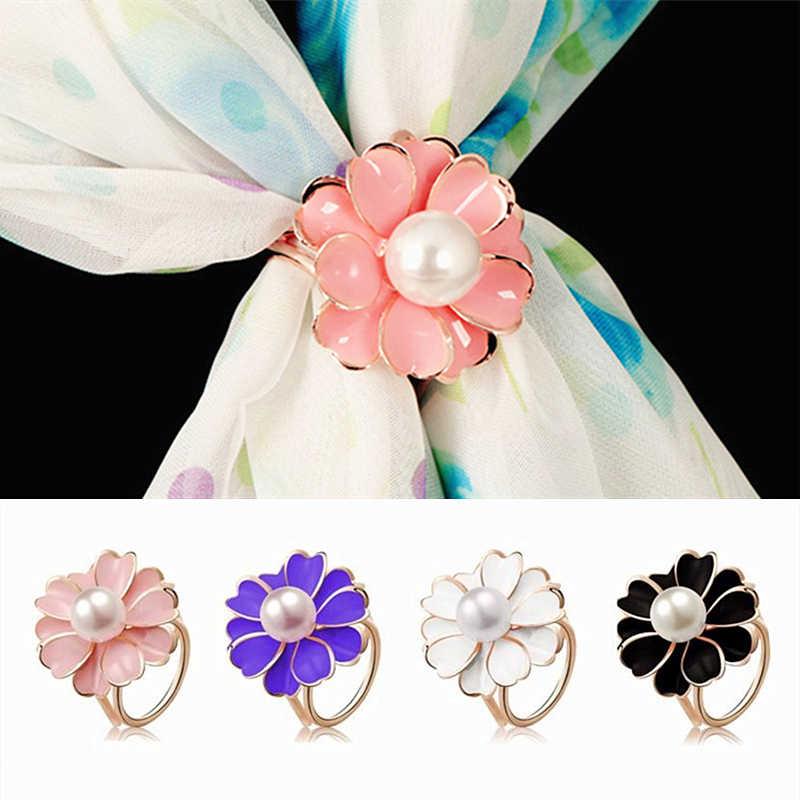 2020 新ベストディールファッション良質三環椿模造真珠スカーフホルダースカーフブローチクリップジュエリーファインギフト